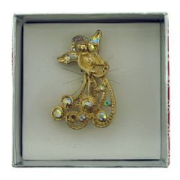 36 Units of Gold Tone Angel Holding A Harp Pin With Gift Box - Jewelry & Accessories