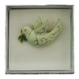 36 Units of White dove pin with gift box