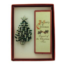36 Units of Christmas Tree Pin With A Book Of The Legend Of The Christmas Tree With A Gift Box - Jewelry & Accessories