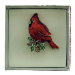 36 Units of Cardinal Sitting On A Mistletoe Pin With Gift Box - Jewelry & Accessories