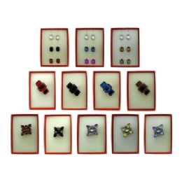 36 Units of Pin And Dangle Multi Earring Red Gift Box Sets - Jewelry & Accessories