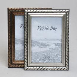 240 Units of Frame 4x6 Antique Gold/silver Plastic In 12pc Pdq Shrink/label Piecrust Edge - Picture Frames
