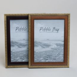 240 Units of Photo Frame 5x7 2ast Woodlook W/gold Trim Plastic In 12pc Pdq Shrink/label - Picture Frames