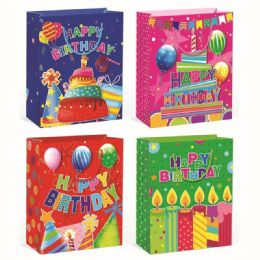 144 Units of Birthday Glitter Extra Large - Gift Bags Assorted