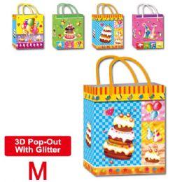 "144 Units of B'day 3D bag 7.5x9x4""/M - Gift Bags"