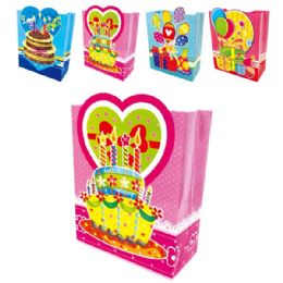 """144 Units of Bday 3D+Glitter 10.5x13x5.5""""/Large - Gift Bags"""