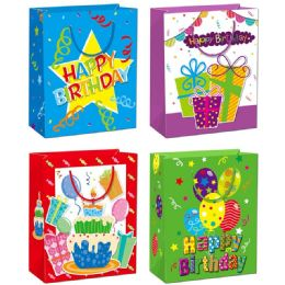 144 Units of Birthday Gift Bag Glitter Large - Gift Bags Hologram