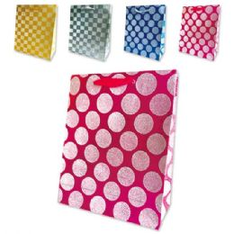 72 Units of Everyday Glitter Gift Bag Size Large - Gift Bags Assorted