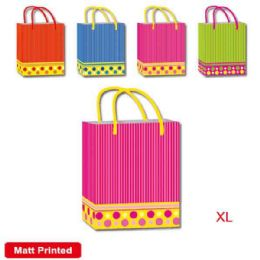 144 Units of Striped Gift Bag Extra Large - Gift Bags Assorted