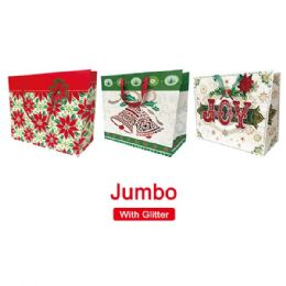 "72 Units of Xmas bag 16x13x58""/Jumbo GLT/HZTL - Christmas Gift Bags and Boxes"