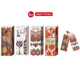 "72 Units of Wine bag 5x14.25x4"" 2 pack/matt printed - Gift Bags"