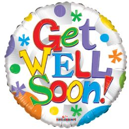 125 Units of One Side Get Well Balloon - Balloons & Balloon Holder