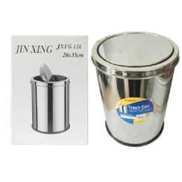 24 Units of Stainless Steel Trash Can - Waste Basket