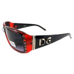 ''12 Units of Wide framed acrylic SUNGLASSES with RHINESTONEs along the side of the frames and polyca