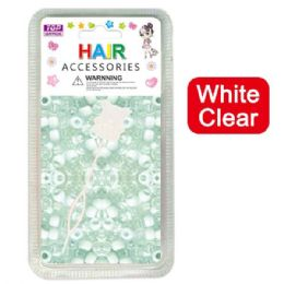 144 Units of Hair Beads White Clear - Hair Accessories
