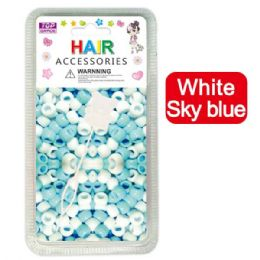 144 Units of Hair Beads White And Blue - Hair Accessories