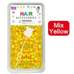 144 Units of Hair Beads Mix Yellow - Hair Accessories