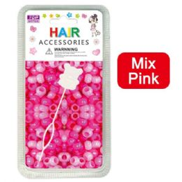 144 Units of Hair Beads Mix Pink - Hair Accessories