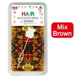 144 Units of Hair Beads Mix Brown - Hair Accessories