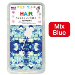 144 Units of Hair Beads Mix Blue - Hair Accessories