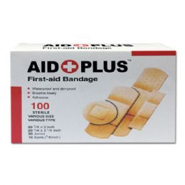 96 Units of 100 Count Bandage Assorted Shapes - First Aid and Bandages