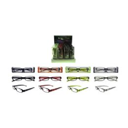 72 Units of Laser Striped Acrylic Reading Glasses - Reading Glasses