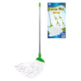24 Units of Cotton Mop With Wooden Handle - Cleaning Products