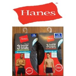 24 Units of HANES 3 PACK MEN'S BOXER BRIEFS - ( SLIGHTLY IMPERFECT - Mens Underwear