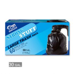 18 Units of Black Trash Bags Thirty Gallon Sixty Count - Garbage & Storage Bags