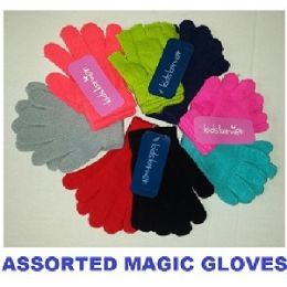 144 Units of 2 PAIR KNIT MAGIC GLOVES ASSORTED COLORS - Knitted Stretch Gloves