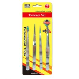 108 Units of 4 Piece Tweezer Set - Hardware Products