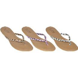 48 Units of Ladies Leopard Print Flip Flops - Women's Flip Flops