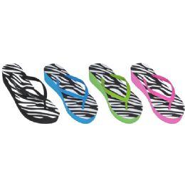 36 Units of Ladies Zebra Print Flip Flops - Women's Flip Flops