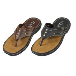 18 Units of Mens Flip Flops With Stitching - Men's Flip Flops and Sandals