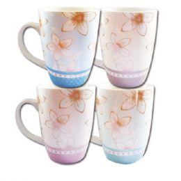 96 Units of Ceramic Mug 12oz. Floral Design - Coffee Mugs