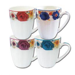 96 Units of Ceramic Mug 12oz Floral Design - Coffee Mugs