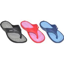 36 Units of Ladies Assorted Sport Flip Flops - Women's Flip Flops