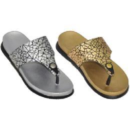 36 Units of Ladies Metallic Flip Flop Sandals - Women's Flip Flops