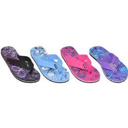 36 Units of Ladies Beach Flip Flops With Printed Footbed - Women's Flip Flops