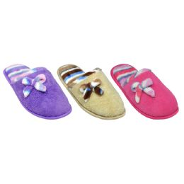 36 Units of Ladies Plush House Slipper with Bow