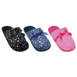 36 Units of Ladies Sparkle House Slippers With Bow