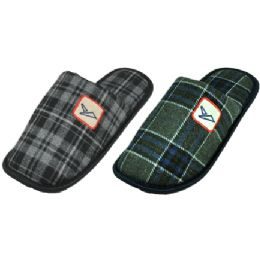 36 Units of Men's Plaid House Slippers