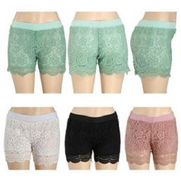 12 Units of Crochet Shorts with Lacey Fringe Assorted Colors - Womens Shorts