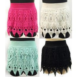 12 Units of Solid Color Crochet Shorts with Fringes Assorted Sizes - Womens Shorts