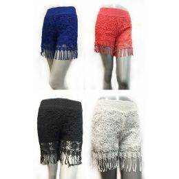12 Units of Wholesale Solid Color Lace Shorts with Fringes Assorted Sizes - Womens Shorts