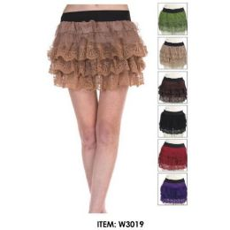 12 Units of Wholesale Tiered Lace Mini Skirts Assorted - Womens Skirts