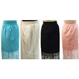 12 Units of Wholesale Solid Color Lace Skirt With Fringes Assorted Colors - Womens Skirts