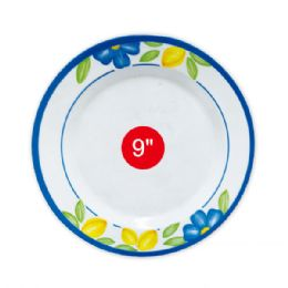 "96 Units of 9""melamine plate with flowers - Plastic Bowls and Plates"