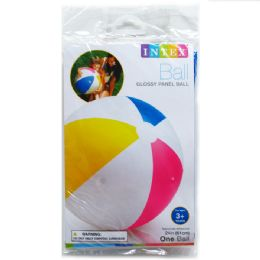 36 Units of GLOSSY PANEL BALL IN PEGABLE POLY BAG - Beach Toys