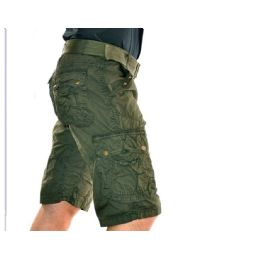 12 Units of MEN'S CARGO SHORTS WITH BELT - OLIVE ONLY - Mens Shorts